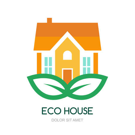 house logo: Illustration of green leaf with house. Vector logo design template.