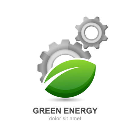 Illustration of green leaf with silver gears cogs. Vector logo design template. Abstract concept for ecology theme, green eco energy, technology and industry.