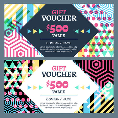 accessorize: Vector gift voucher with colorful geometric pattern and square frame. Business card template. Abstract creative background. Concept for boutique, fashion shop, accessorize, flyer, banner design.