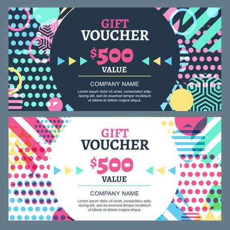 spring sale: Vector gift voucher with colorful geometric pattern and round frame. Business card template. Abstract creative background. Concept for boutique, fashion shop, accessorize, flyer, banner design.
