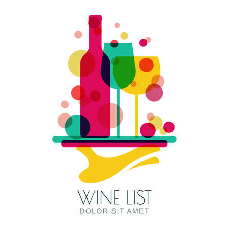 Abstract colorful illustration of human hand holding tray with wine bottle and two glasses. Vector logo design template. Concept for wine list, bar menu, alcohol drinks.