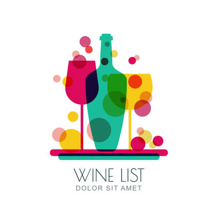 alcohols: Abstract multicolor trendy illustration of tray with wine bottle and two glasses. Vector logo design template. Concept for wine list, bar menu, alcohol drinks.