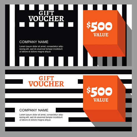 accessorize: Vector gift voucher with striped pattern and orange cube. Business card template. Abstract background. Concept for boutique, fashion shop, accessorize, architecture and interior, flyer, banner design. Illustration