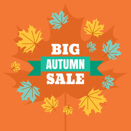 Big autumn sale banner background. Vector flat style illustration with colorful maple leaves. Concept for buying goods via internet store, online shopping, flyer design. Illustration