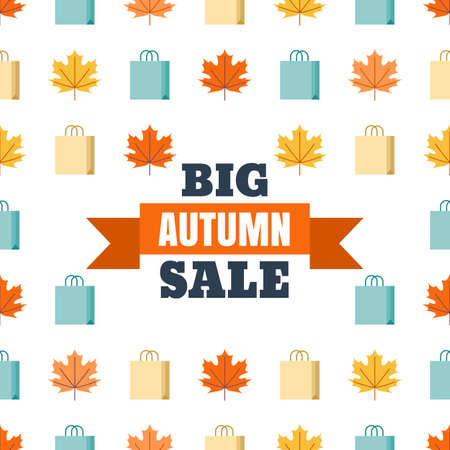 Big autumn sale banner white background. Vector flat style illustration with colorful maple leaves and shopping bags. Concept for buying goods via internet store, online shopping, flyer design.