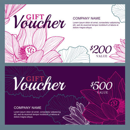 purple: Vector gift voucher template with lotus, lily flowers. Business floral card template. Abstract background. Concept for boutique, jewelry, floral shop, beauty salon, spa, fashion, flyer, banner design. Illustration