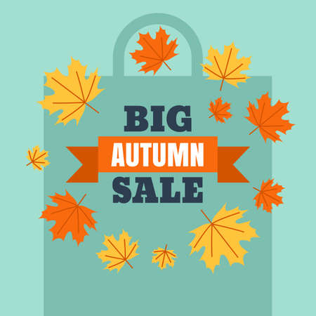 Big autumn sale banner background with shopping bag silhouette. Vector flat style illustration with colorful maple leaves. Concept for buying goods via internet store, online shopping, flyer design. Illustration