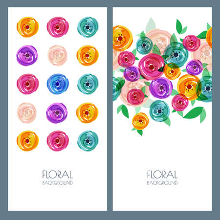 beauty of nature: Set of vector banners with place for text. Trendy colorful illustration of roses flowers. Creative nature hand drawn background. Concept for boutique, floral shop, beauty salon, fashion, flye design. Illustration