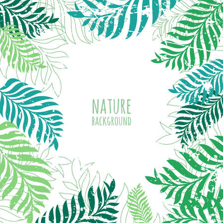 Vector hand drawn green palm tree leaves, grunge background. Abstract nature old frame with place for text. Illustration
