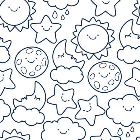 rain cartoon: Funny sketching line style illustration of star, sun, cloud, moon. Vector seamless cartoon pattern. Black and white background. Design concept for fashion textile print. Illustration