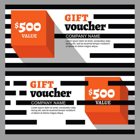 accessorize: Vector gift voucher with striped pattern and orange cube. Business card template. Abstract flat background. Concept for boutique, fashion, accessorize, architecture and interior, flyer, banner design.