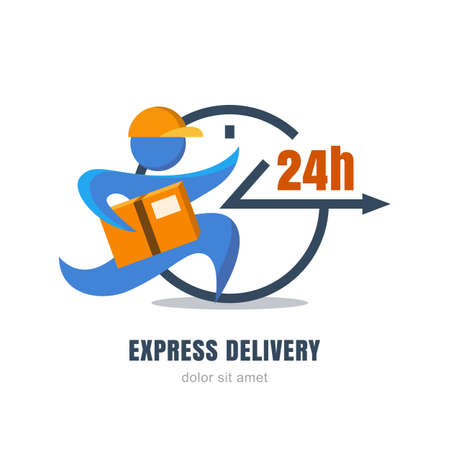 Flat illustration of running man with postal box and clock. Courier with parcel. Vector logo design template. Concept for express delivery service, free shipping from internet shop and online store. Иллюстрация