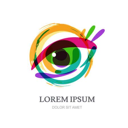 oculista: Ilustración de ojo abstracta de colores en forma de círculo, vector logo plantilla. Concepto de diseño de óptica, tienda de gafas, oculista, oftalmología, estilista de maquillaje, buscar, circuito cerrado de televisión, la investigación. Vectores