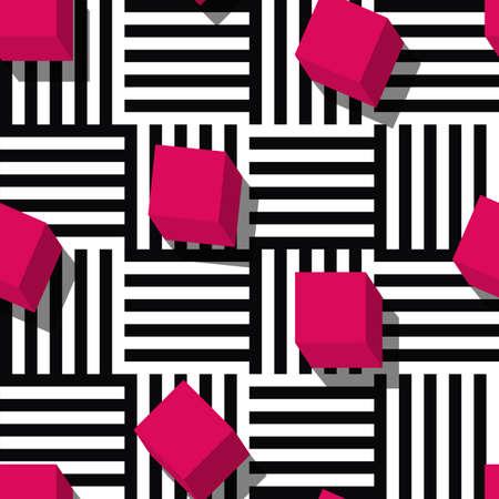 mode: Vector naadloze geometrisch patroon. Vlakke stijl roze kubus en zwart, wit gestreepte vierkante achtergrond. Trendy concept voor mode textieldruk.