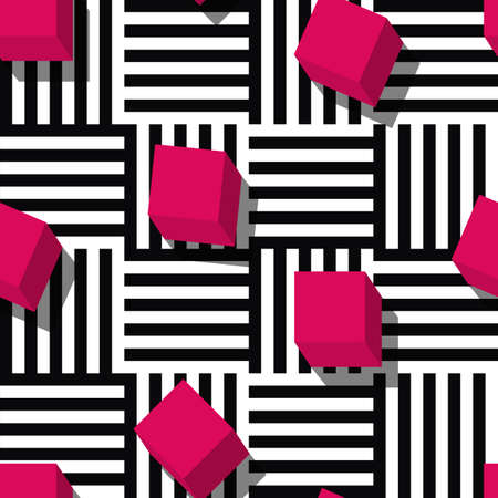 fashion: Vector seamless geometric pattern. Flat style pink cube and black, white striped square background. Trendy design concept for fashion textile print.
