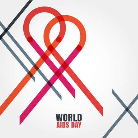 deficiency: Vector trendy abstract illustration of red ribbon aids linear symbol. Concept for 1st December World Aids Day. Colorful background with place for text.