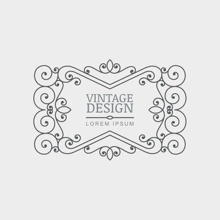 Vector retro style flourish frame. Abstract decorative black and white vintage background. Design concept for boutique, hotel, restaurant, floral shop, jewelry, fashion, heraldic emblem.