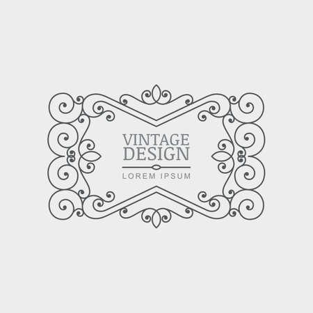 rahmen: Vector Retro-Stil gedeihen Rahmen. Zusammenfassung dekorativen schwarzen und weißen Hintergrund Jahrgang. Design-Konzept für Boutique, Hotel, Restaurant, Blumengeschäft, Schmuck, Mode, heraldische Emblem. Illustration