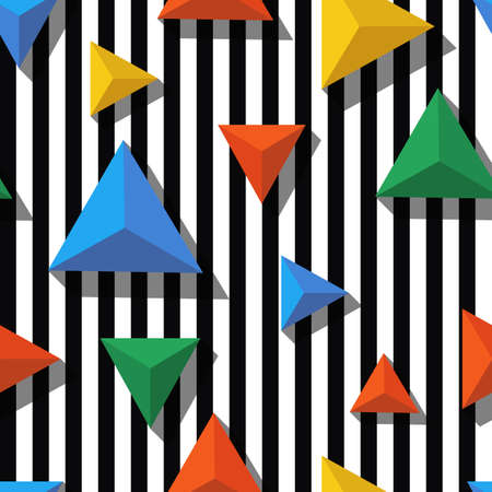 geometry: Vector seamless geometric pattern. Flat style multicolor pyramid and black, white striped background. Trendy design concept for fashion textile print.