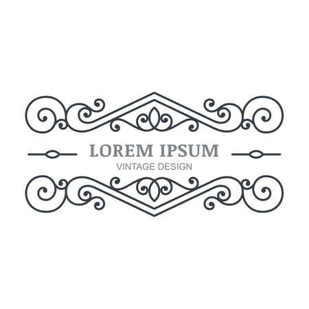 boutique hotel: Vector marco florecer vintage. Plantilla de diseño de logotipo abstracta. Negro ornamental y fondo blanco. Concepto de diseño de hotel boutique, restaurante, tienda de flores, joyería, moda, emblema heráldico.
