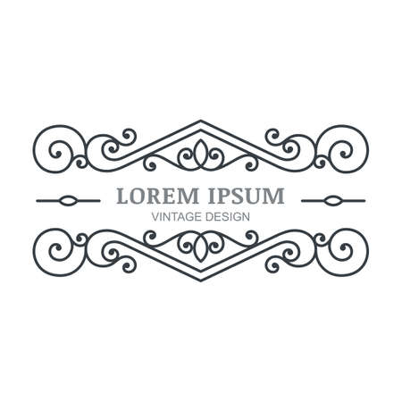 boutique hotel: Vector marco florecer vintage. Plantilla de dise�o de logotipo abstracta. Negro ornamental y fondo blanco. Concepto de dise�o de hotel boutique, restaurante, tienda de flores, joyer�a, moda, emblema her�ldico.