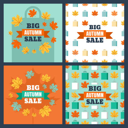 Set of vector banners and backgrounds for autumn sale. Flat seamless pattern with colorful maple leaves and shopping bags. Concept for buying goods via internet store, online shopping, flyer design.