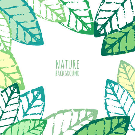 Vector watercolor hand drawn green leaves, grunge background. Abstract nature old frame with place for text. 向量圖像