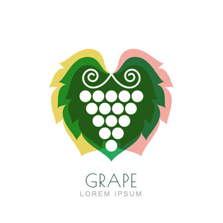 plant to drink: Vector grape vine and colorful leaves, negative space logo design template. Trendy illustration. Concept for nature organic products, fruits, vegetables market, harvest, healthy food, wine list.