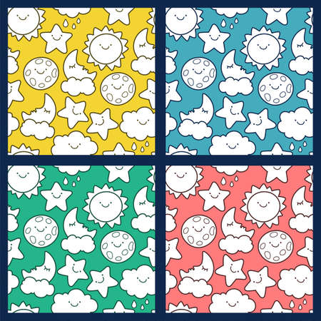 stars  background: Set of vector seamless cartoon pattern. Funny sketching line style illustration of star, sun, cloud, moon. Multicolor backgrounds. Design concept for fashion textile print.