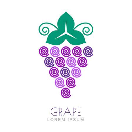 포도 수확: 잎, 로고 디자인 템플릿 벡터 포도입니다. 포도 포도 나무 선형 스타일 아이콘입니다. 자연 유기농 제품, 과일과 야채 시장, 수확, 건강 식품, 와인리스