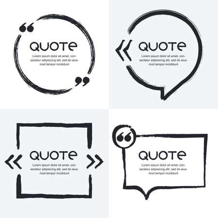 인용의 벡터 설정 템플릿을 형성한다. 검은 색과 흰색 배경. 수채화 브러시 프레임. 빈 다채로운 연설 거품. 텍스트 정보 및 인쇄 디자인을위한 비즈니 일러스트