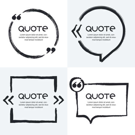 Vector set of quote forms template. Black and white background. Watercolor brush frame. Blank colorful speech bubbles. Business template for text information and print design.