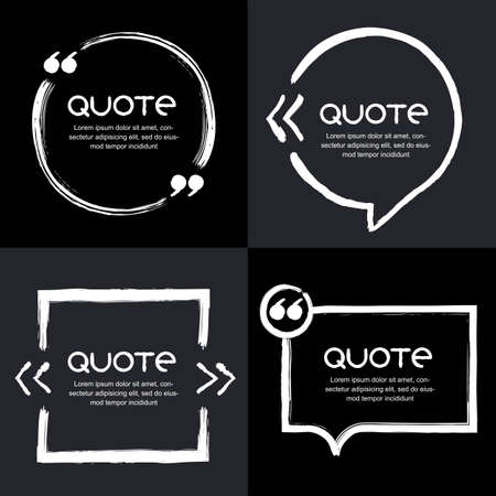 Vector set of quote forms template. Black background. Watercolor white brush frame. Blank colorful speech bubbles. Business template for text information and print design.