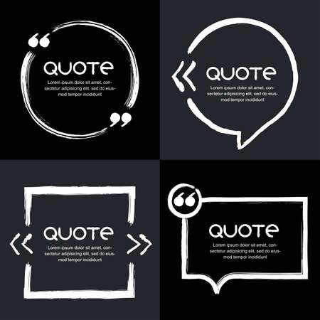 Vector set van citaat vormt template. Zwarte achtergrond. Watercolor wit borstel frame. Lege kleurrijke tekstballonnen. Zakelijke sjabloon voor tekst informatie en print design. Stock Illustratie