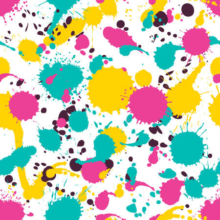 colour splash: Vector seamless watercolor pattern, colorful splashes, blots, stains. Abstract trendy hand painted background in pink, green, yellow colors. Design for fashion print, holiday package and wrapping. Illustration