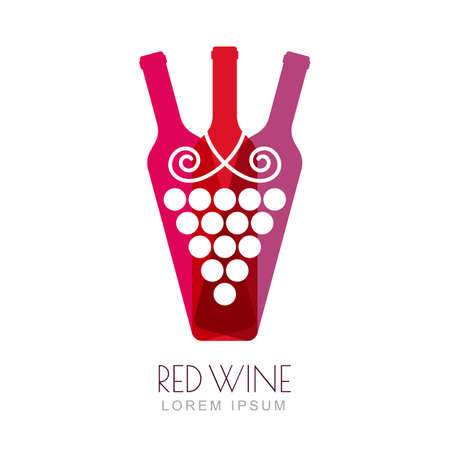 red grape: Vector grape vine and wine bottles, negative space logo design template. Colorful trendy illustration. Concept for wine list, bar menu, alcohol drinks, wine label.