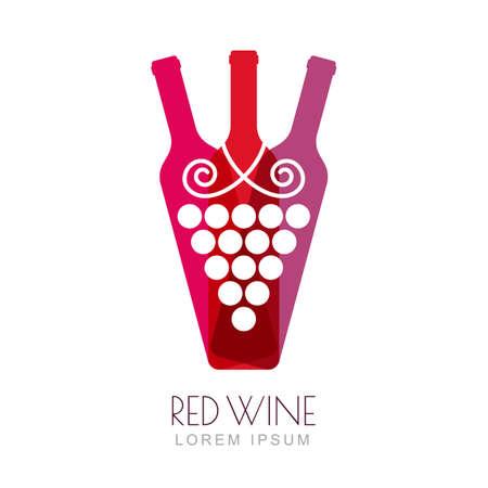 vinho: Vector Vinha e garrafas de vinho, modelo negativo espaço design de logotipo. Ilustração na moda colorida. Conceito para a lista de vinhos, menu de bar, bebidas alcoólicas, etiqueta do vinho. Ilustração