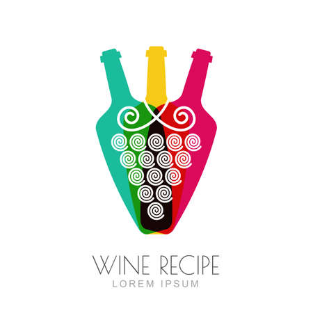 label design: Vector grape vine and wine bottles, negative space logo design template. Colorful trendy illustration. Concept for wine list, bar menu, alcohol drinks, wine label, grape wine recipe.