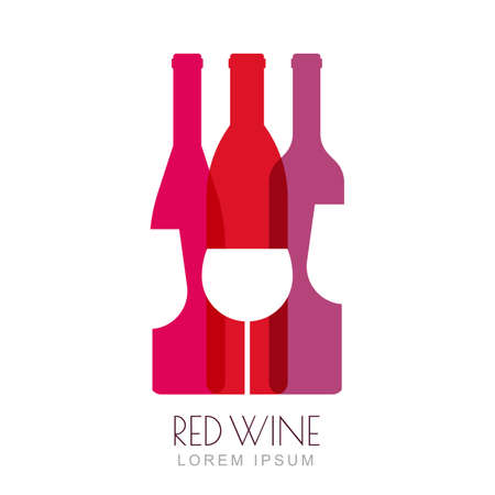glass with red wine: Vector wine bottles and glass, negative space logo design template. Colorful trendy illustration in red and pink colors. Concept for wine list, bar menu, alcohol drinks, wine label, grape wine recipe.