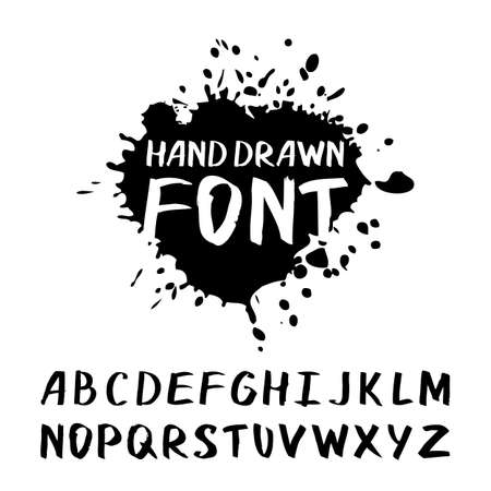 painted: Vector watercolor hand drawn modern font. Doodle hand made creative set of letter alphabet symbols. Black and white illustration. Brushed lettering. Abstract calligraphic logo design.