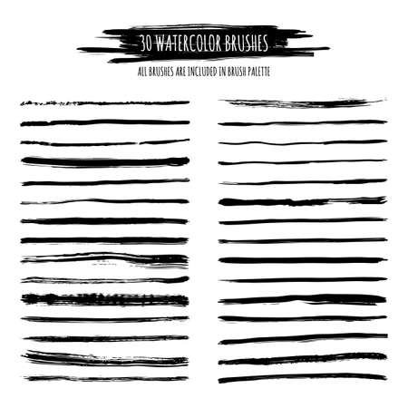 Set of black watercolor, ink hand drawn brush strokes, borders, dividers isolated. Grunge artistic backgrounds and banners. Trendy dry brush decor elements. All brushes are included in brush palette.