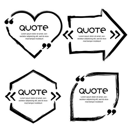 Vector set of quote forms template. Black and white backgrounds. Watercolor brush frame and speech bubbles in shape of heart, arrow, leaf. Business template for text information and print design. Vettoriali