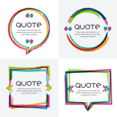 background information: Vector set of quote forms template. Colorful bright backgrounds. Watercolor brush frame. Blank colorful speech bubbles. Business template for text information and print design.