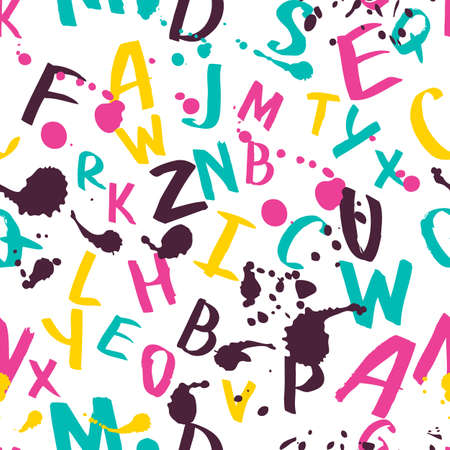 ink illustration: seamless pattern with watercolor latin alphabet, splashes and stains. Hand painted letters, abstract ink background. Multicolor illustration. Design for fashion print, school theme. Illustration