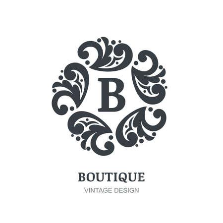 boutique hotel: dise�o de la plantilla. ornamento decorativo retro, florece el fondo del marco negro. Resumen concepto de encanto, hotel, restaurante, tienda de flores, joyer�a, moda, her�ldico, emblema.