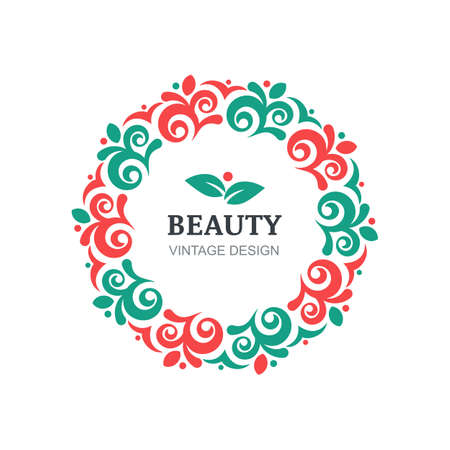 cosmetics background: beauty salon design template. Decorative vintage ornament, flourishes frame background. Abstract concept for floral shop, spa, natural organic cosmetics, emblem, label.
