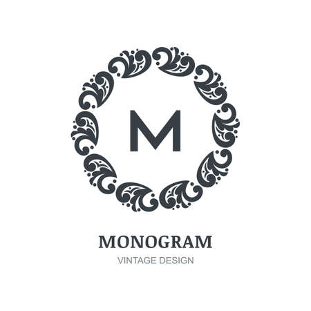 Luxury vector logo design template. Vintage ornate isolated black frame, flourishes background. Abstract concept for boutique, hotel, restaurant, floral shop, jewelry, fashion, emblem, label.