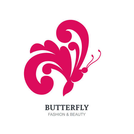 visage: Vector illustration of decorative butterfly silhouette. Abstract logo sign design template. Concept for beauty salon, fashion, spa, natural organic cosmetics, makeup, visage, jewelry and accessories.
