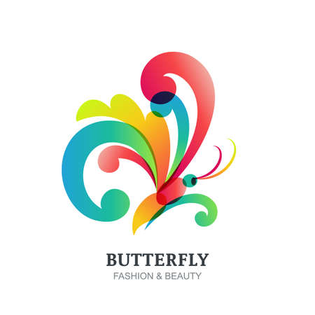 Vector illustration of colorful transparent butterfly. Abstract creative logo sign design. Modern concept for beauty salon, fashion, spa, natural organic cosmetics, makeup, visage, accessories. Illustration