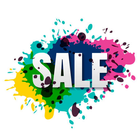 discount tag: Vector isolated sale banner, badge, label with colorful watercolor background. Hand drawn banner template. Trendy design concept for special offer, poster, flyer design, shopping tag, discount card.